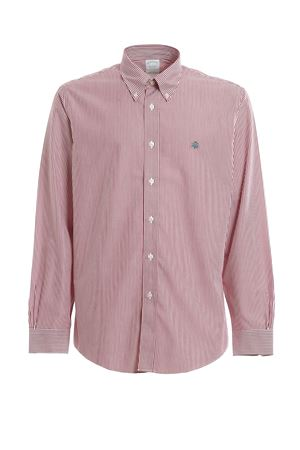CAMICIA IN COTONE A RIGHE CON LOGO 00104345red BROOKS BROTHERS | 6 | 00104345RED