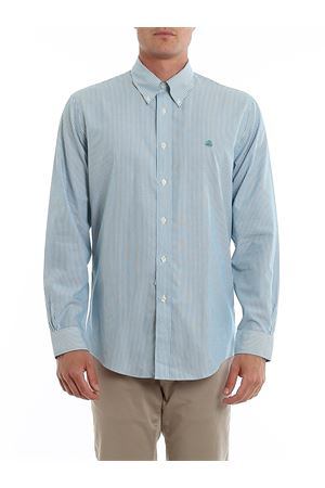 LOGO EMBROIDERY STRIPED COTTON SHIRT BROOKS BROTHERS | 6 | 00104346TURQUOISEAQUA