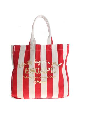 LAMINATED PRINT SHOPPER BAG IN ECRU AND RED DONDUP | 5032266 | WB119Y00712DXXXDD112