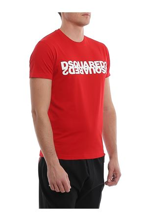 Logo print red cotton T-Shirt DSQUARED2 | 8 | S74GD0635S22427307
