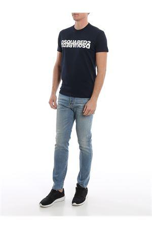 T-Shirt blu in cotone con stampa del logo S74GD0635S22427470 DSQUARED2 | 8 | S74GD0635S22427470