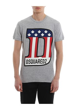 Melange T-shirt with flag print DSQUARED2 | 8 | S74GD0671S22146857M