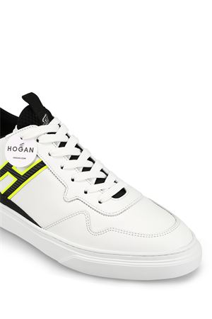 H365 fluo detailed white sneakers 