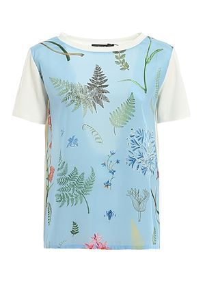 T-shirt in silk crêpe de Chine and jersey MAX MARA | 8 | 597104076005