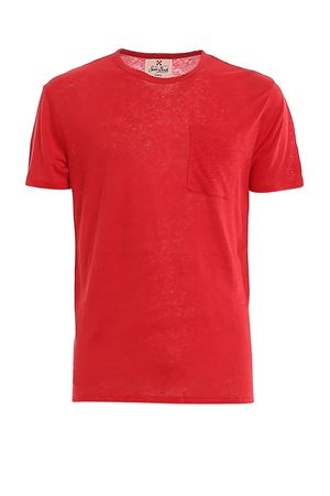 RED LINEN T-SHIRT WITH PATCH POCKET MC2 SAINT BARTH | 8 | ECSTASEA41