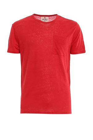 RED LINEN T-SHIRT WITH PATCH POCKET MC2 SAINT BARTH   8   ECSTASEA41