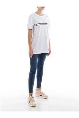 Logo stripe white cotton jersey T-shirt MONCLER | 8 | 8C707108390T001