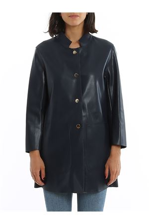 BLUE ECO NUBUCK LEATHER SHORT COAT PAOLO FIORILLO CAPRI | 17 | 21692618900