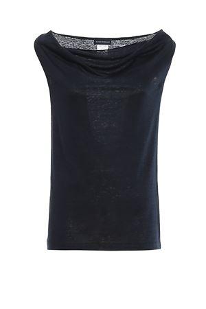 COWL NECK BLUE LINEN BLOUSE PAOLO FIORILLO CAPRI | 46 | 6023196800306