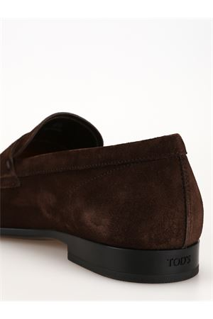Dark brown suede square toe loafers 