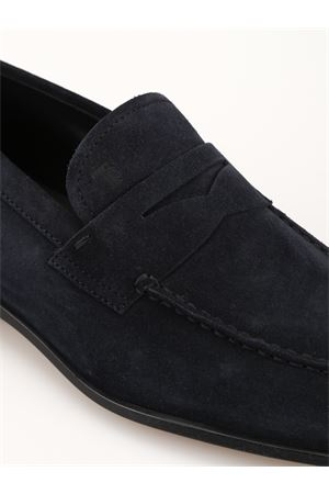Dark blue suede square toe loafers
