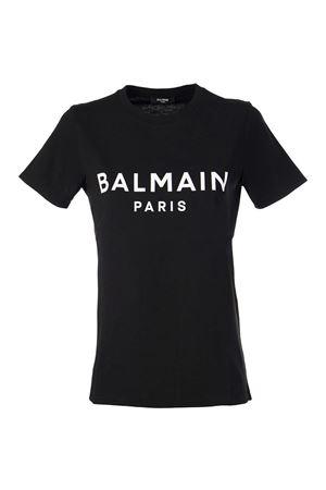 BLACK COTTON T-SHIRT BALMAIN | 8 | VF11350B019EAB