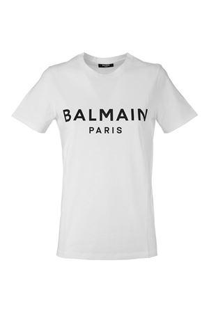 WHITE COTTON T-SHIRT BALMAIN | 8 | VF11350B019GAB