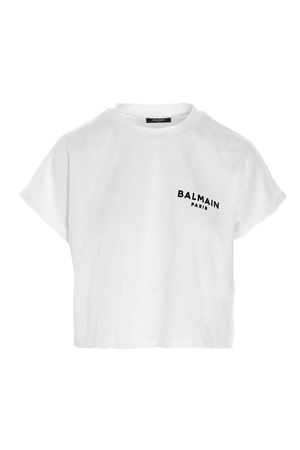 LOGO CROPPED T-SHIRT IN WHITE BALMAIN | 8 | VF11370B013GAB