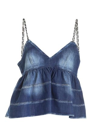 MICRO-BEADED STRAPS DENIM TOP IN BLUE DONDUP | 40 | DC193DS0259DBE5DD800