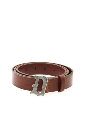 BRANDED BUCKLE BELT IN BROWN