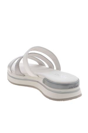 H257 SLIPPERS IN WHITE AND SILVER HOGAN | 5032241 | HXW2570DN70PKD0906