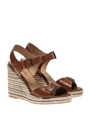 LEATHER AND ROPE WEDGES IN BROWN HOGAN | 5032241 | HXW5580DL20LEHS003
