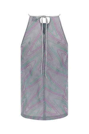 HALTER NECK TANK TOP IN SILVER COLOR