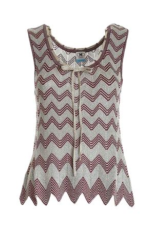 KNITTED TOP IN BLUE, GOLD AND BURGUNDY