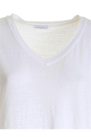 SIDE SLIT T-SHIRT IN WHITE MALO | 8 | DJB012JBU04E105