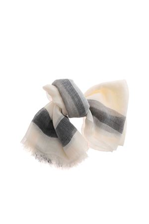 WHITE SCARF WITH BLACK DETAILS MALO | 61 | XTW168TBF04EK617