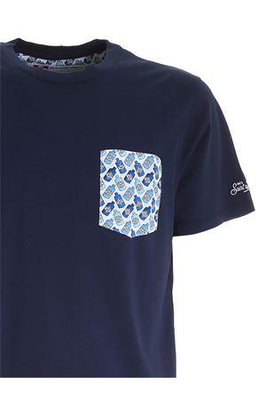 CONTRASTING POCKET T-SHIRT IN BLUE MC2 SAINT BARTH | 8 | BLANCHE61GM01