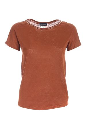 RHINESTONES T-SHIRT IN BROWN