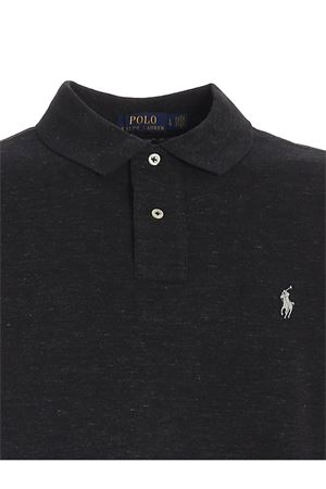 LOGO EMBROIDERY SLIM FIT POLO SHIRT IN GREY