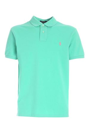 SLIM FIT POLO SHIRT IN MINT GREEN WITH PINK LOGO POLO RALPH LAUREN | 2 | 710795080020