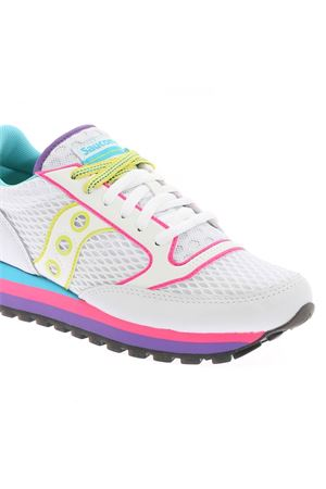 JAZZ TRIPLE WHITE SNEAKERS WITH NEON DETAILS