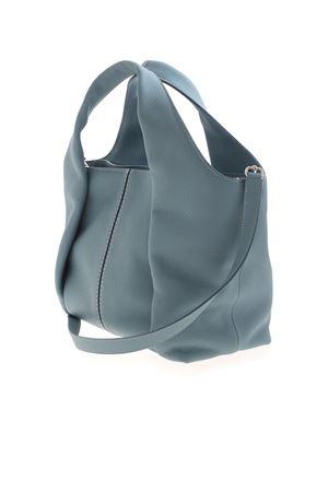 LEATHER SHOULDER BAG IN LIGHT BLUE TOD