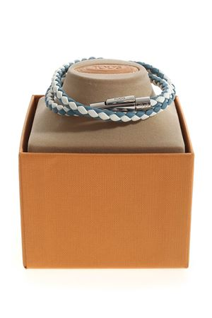 MYCOLORS BRACELET IN LIGHT BLUE AND CREAM LEATHER TOD