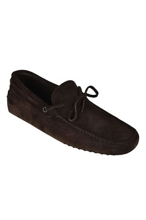 RUBBER MOCCASIN IN BROWN SUEDE LEATHER TOD
