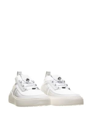 NO_CODE X LEATHER AND TECHNICAL FABRIC SNEAKERS IN WHITE TOD
