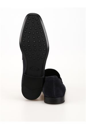 LOAFERS IN BLUE SUEDE LEATHER TOD
