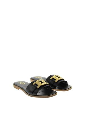CHAIN DETAILED LEATHER SANDALS IN BLACK TOD