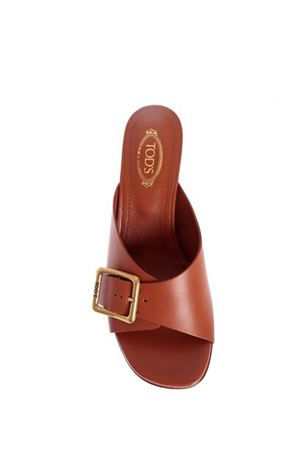 CLEAR HEEL SANDALS IN BROWN TOD