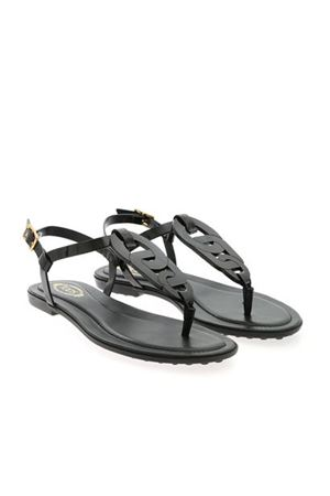 WOVEN DETAIL SANDALS IN BLACK TOD