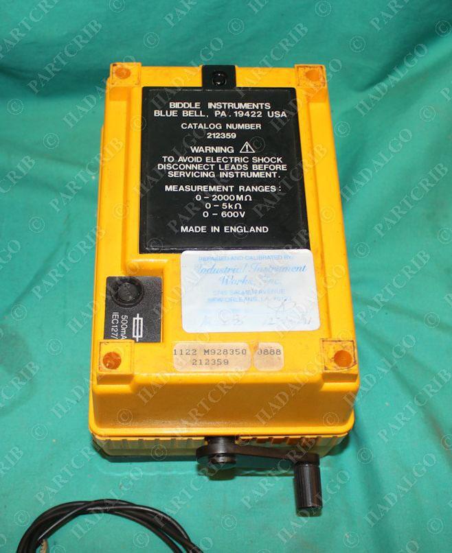 Megger 212359 Hand Crank Line Analog Major Megger Insulation Tester Biddle Partcrib Com
