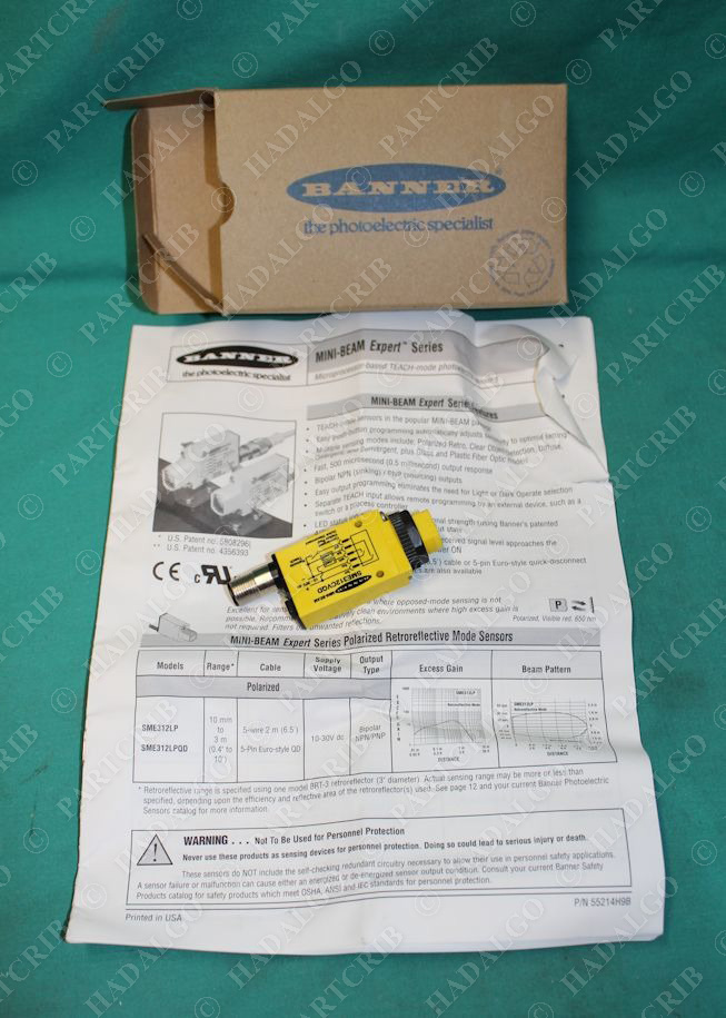 Mini-Beam Photoelectric Sensor Switch NEW Banner 53702 SME312CVQD