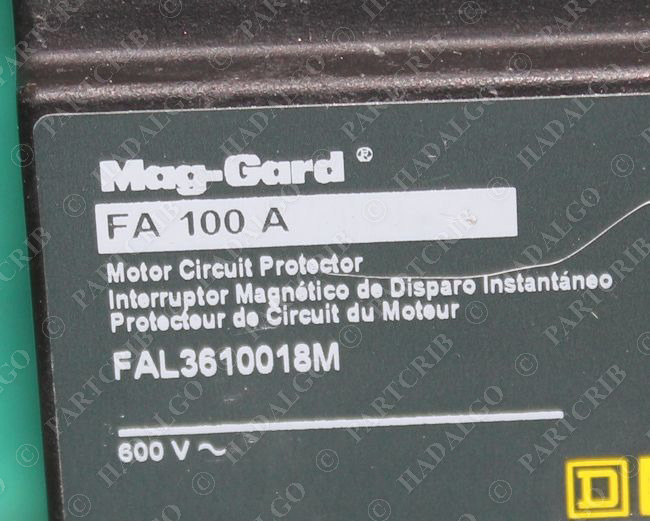 Square D Fal3610018m Mag Gard Motor Circuit Protector