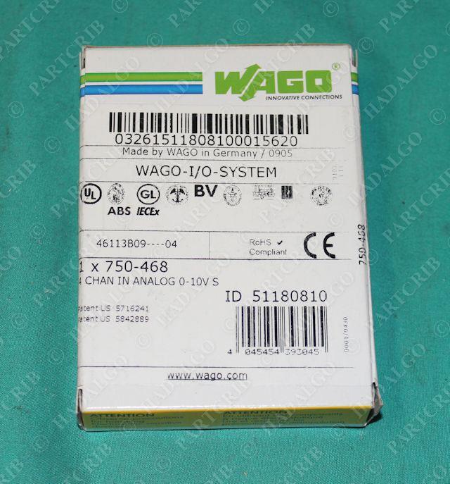 Wago, 750-468, I/O System 4 Chain Input Analog Module 0-10V S NEW