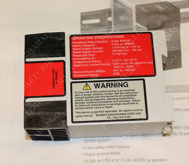 Banner, ES-UA-5A, 66091, Stop Safety Module Relay NEW on