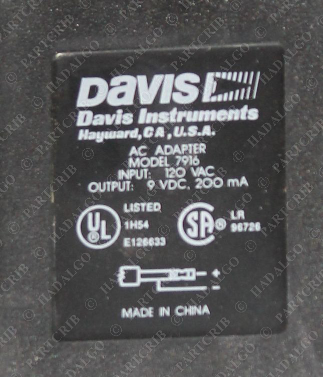 Davis Instruments, 7916, AC Power Adapter 9VDC 9 Volt 200ma