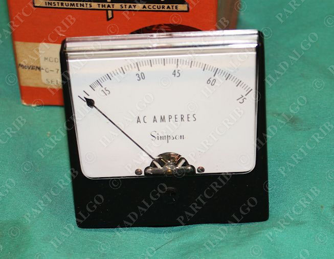 Simpson Model 1357 Panel Meter 0-75 AC Amperes 3215 NEW