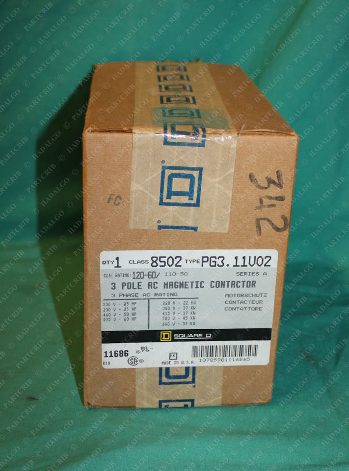 Square D, 8502 PG3 11V02, 3Pole AC Magnetic Contactor Starter Relay
