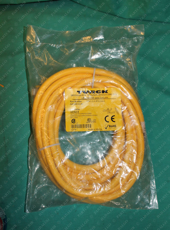 Turck, RSM RKM 36-4M, U2260-0, MiniFast Cordset Cable 3p 3 Pin Extension Cord Male Female Plug