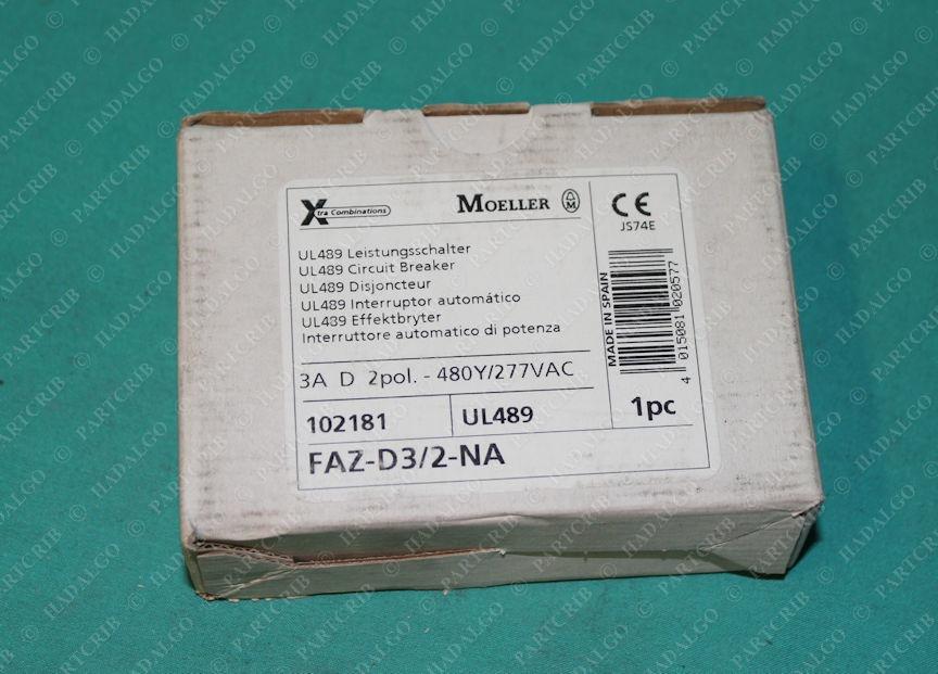 Moeller, FAZ-D3/2-NA, Miniature DIN Rail Circuit Breaker 3A 2 Pole 2p 3 Amp