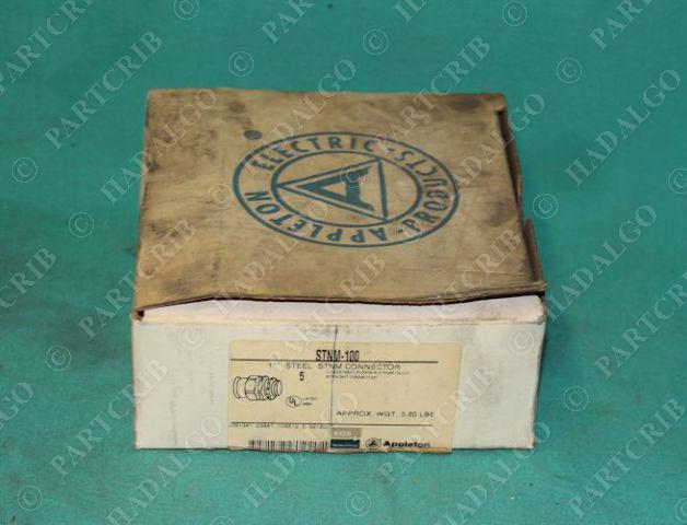 "Appleton, STNM-100, 1"" Steel STNM Connector Box of 5 NEW"
